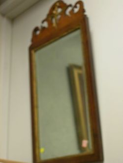 Chippendale Parcel-gilt Mahogany Inlaid Mirror.