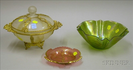 Loetz-type Iridescent Green Glass Bowl, a Bohemian Gilt Cranberry Glass Dish, and a Gilt-metal Mounted Frosted ...