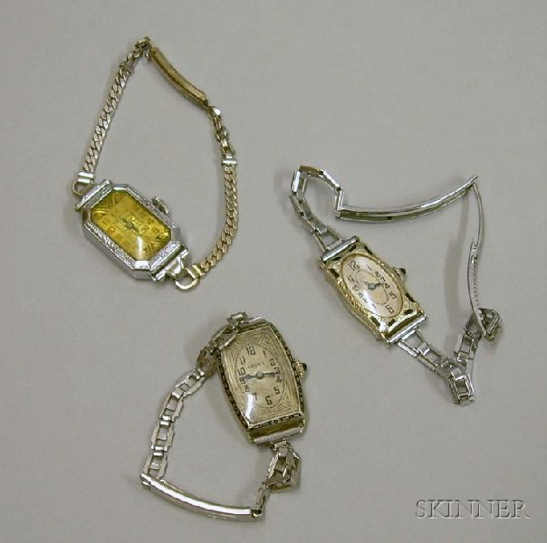 One Gruen and Two Benrus Art Deco 14kt and 18kt White Gold and Enamel 15-jewel   Lady's Wristwatches