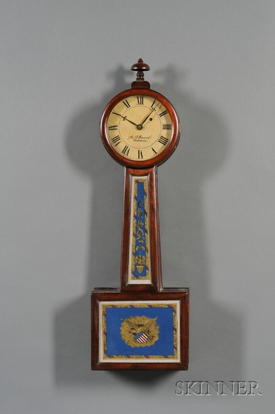 "Mahogany Patent Timepiece or ""Banjo"" Clock by A. D. Bowen"
