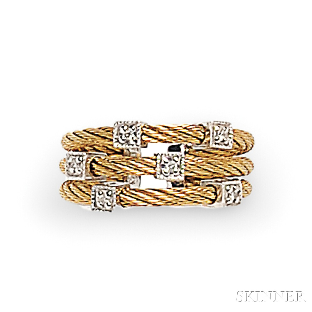 18kt Gold, Steel, and Diamond Bracelet and Ring, Charriol