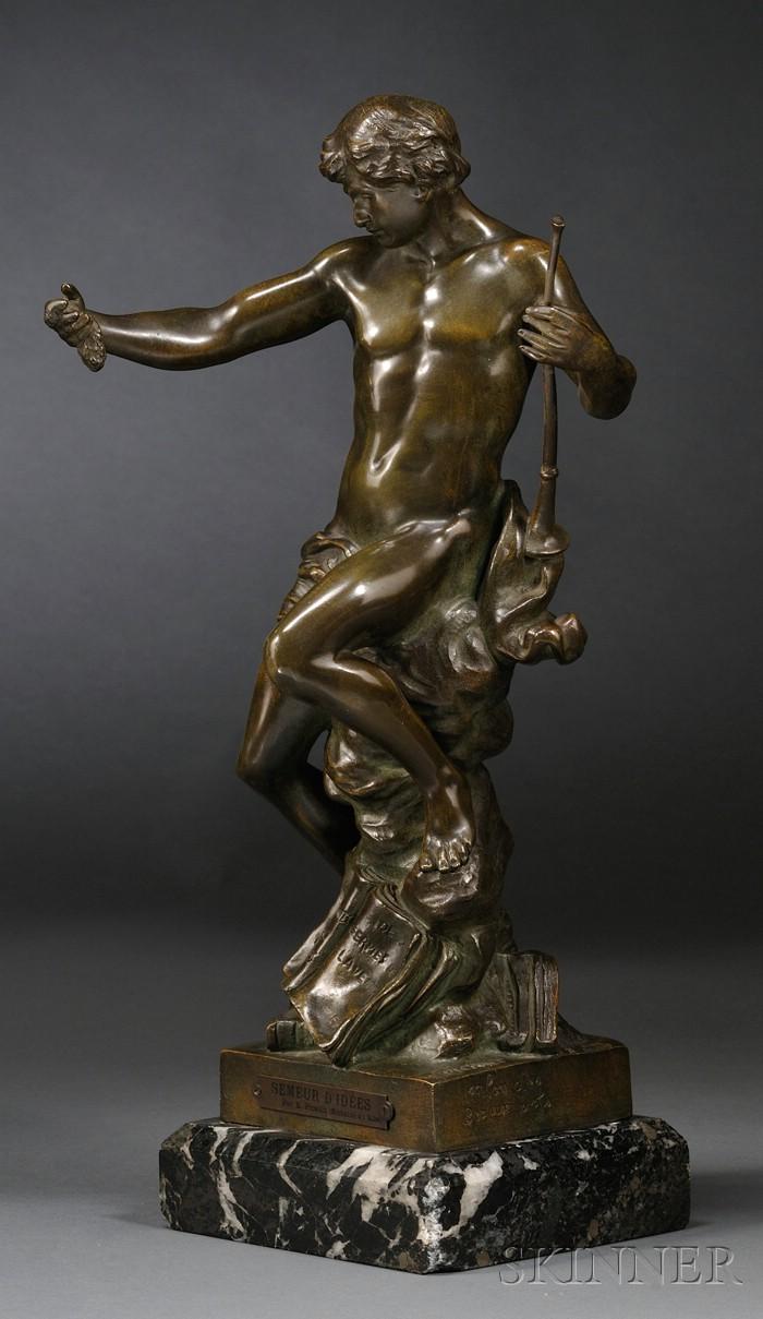 Émile Louis Picault (French, 1833-1915)       Bronze Figure of an Allegorical Man, Semeur d'Idees