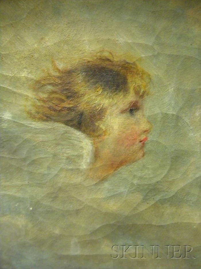 Continental School, 19th Century      Profile Head of an Angel.