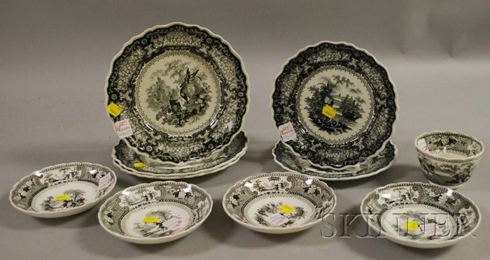 Ten Pieces of  English Black and White Transfer-decorated Staffordshire Tableware