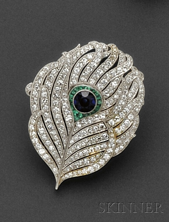 Art Deco Platinum Gem-set Brooch