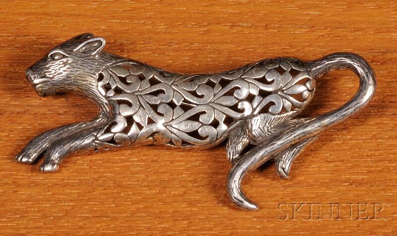 Sterling Silver Jaguar Pin