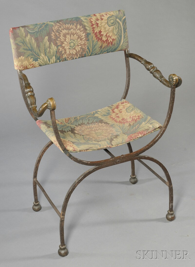 Tapestry Upholstered Iron Curule Chair