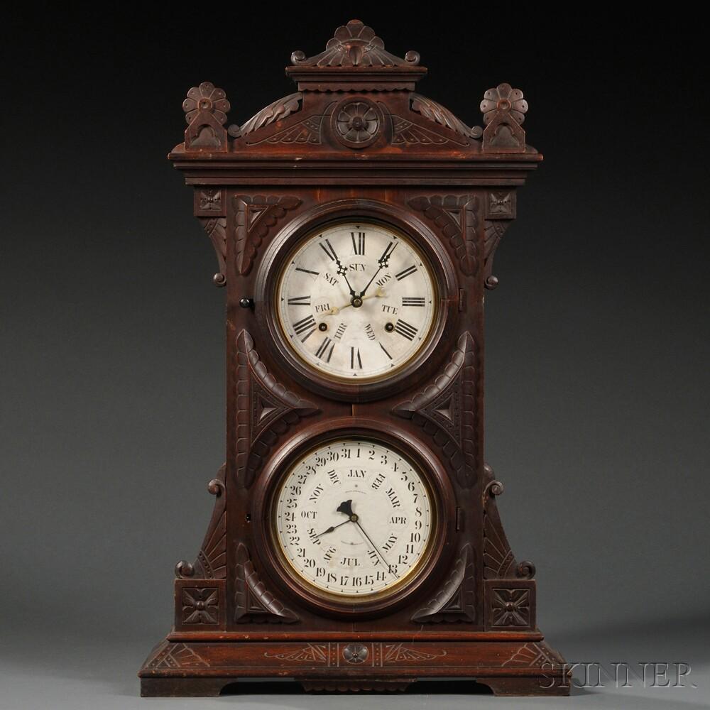"Welch ""Audran, B. W."" Double-dial Calendar Clock"