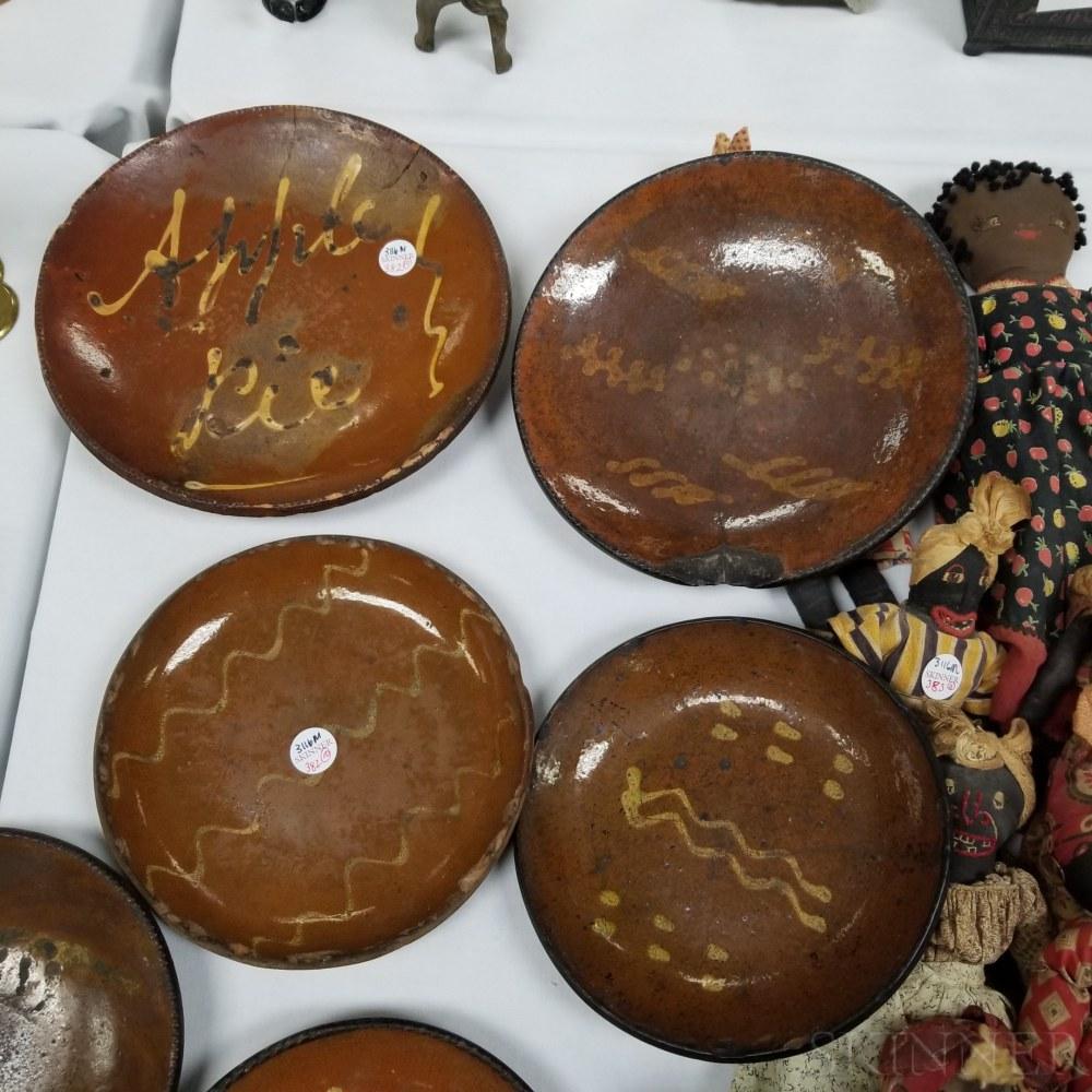 Ten Glazed Redware Pottery Plates