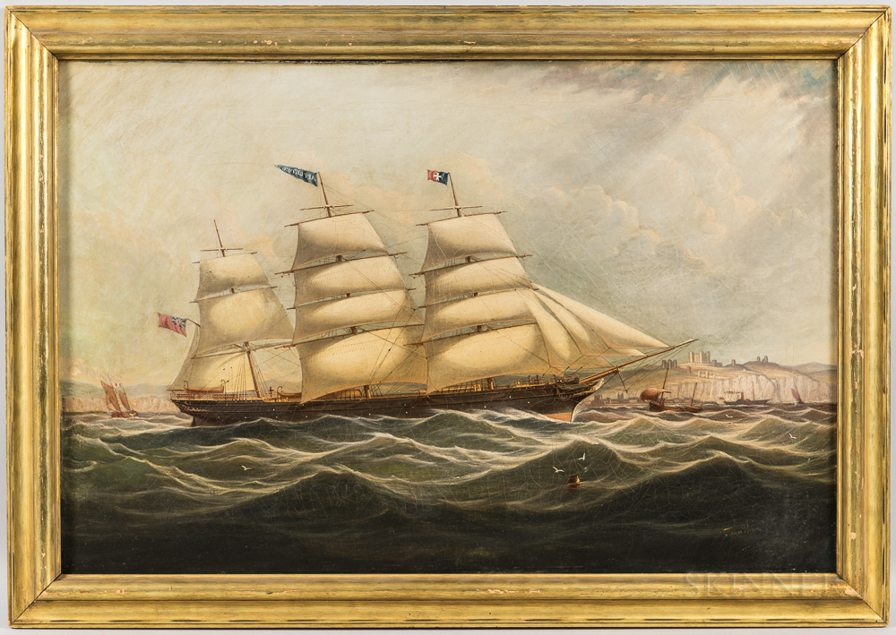 Anglo-American School, 19th Century      Portrait of the Vessel Appleton   off Dover