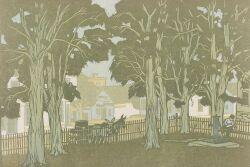 Gustave Baumann (German/American, 1881-1971)  The Courthouse Yard.