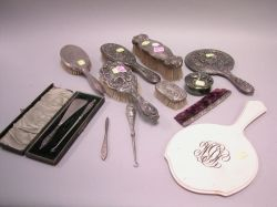 Assortment of Repousse Silver and Other Dresser Articles.