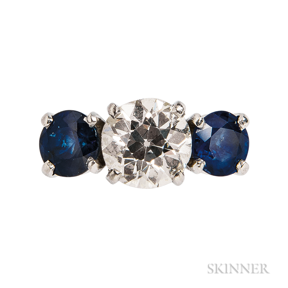 Platinum, Sapphire, and Diamond Three-stone Ring