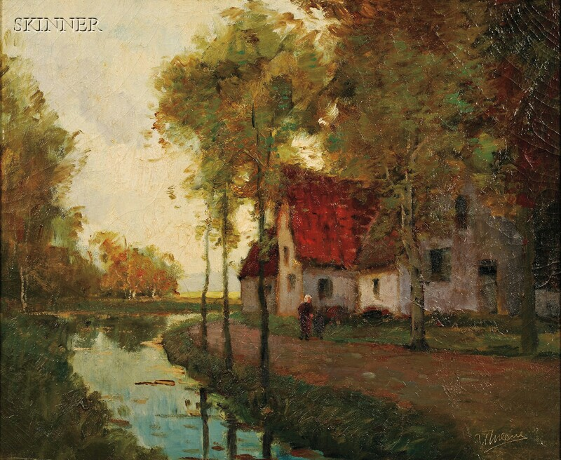 Anthony Thieme (American, 1888-1954)      Morning Light Along the Canal