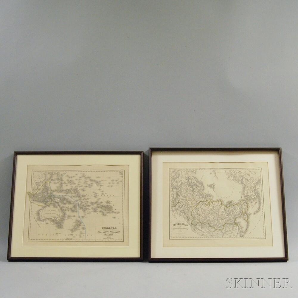 Two Italian Language Framed Maps