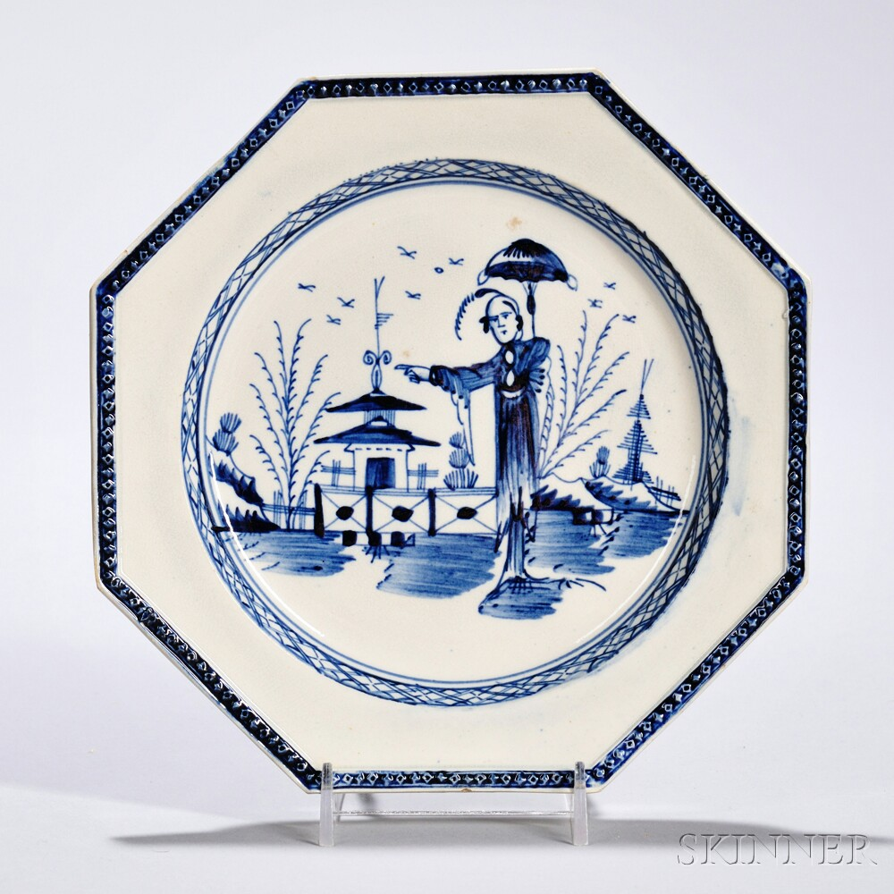 Underglaze Blue Decorated Pearlware Dessert Plate