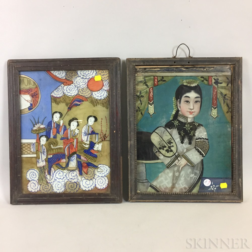 Two Reverse-paintings on Glass