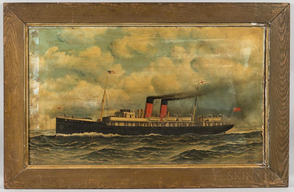Antonio Nicolo Gasparo Jacobsen (Danish/American, 1850-1921)      Portrait of the Steamship Prince George