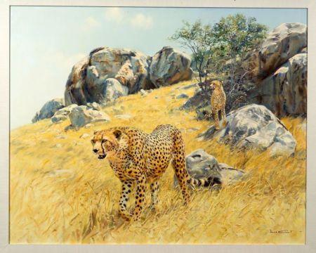 Donald Grant (British, b. 1942)    Cheetahs on the Prowl