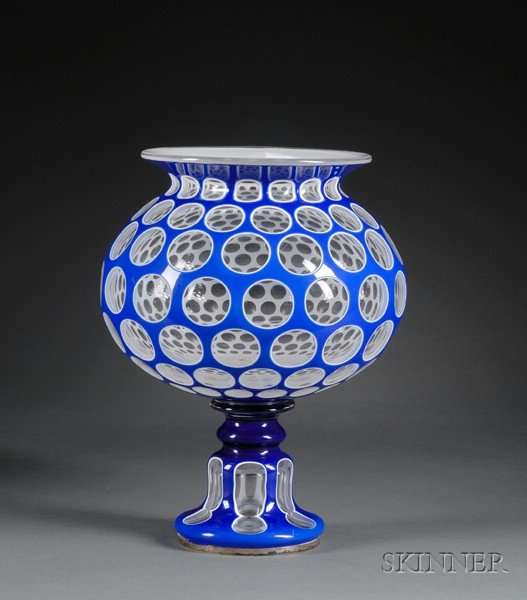 Cut Double Overlay Footed Glass Bowl