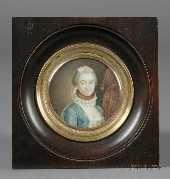 Portrait Miniature of an Elegantly Dressed Woman