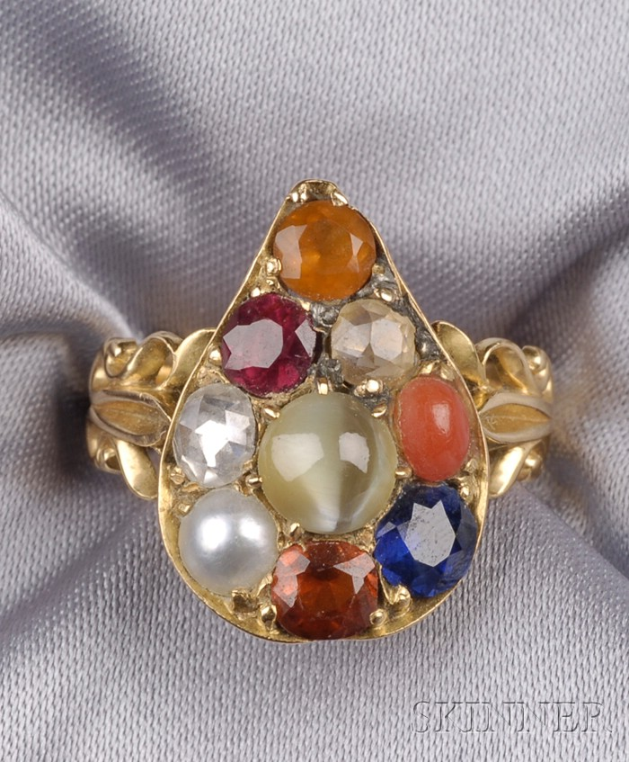 Antique 18kt Gold Gem-set RingAntique 18kt Gold Gem-set Ring