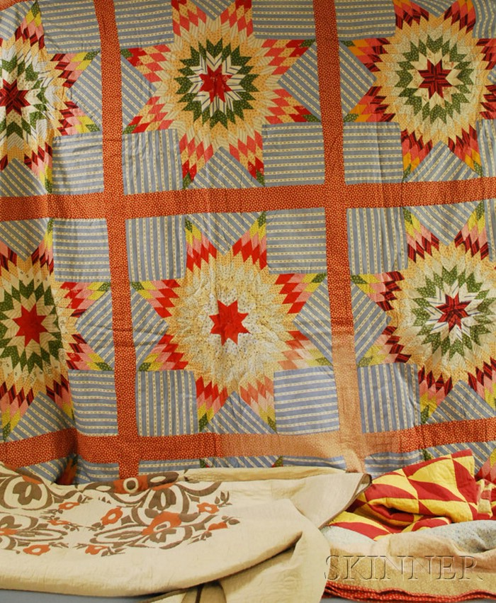 Three 19th Century Hand-stitched Cotton Quilts