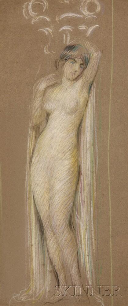 Philip Leslie Hale (American, 1865-1931)      Portrait of a Female Nude with Drape