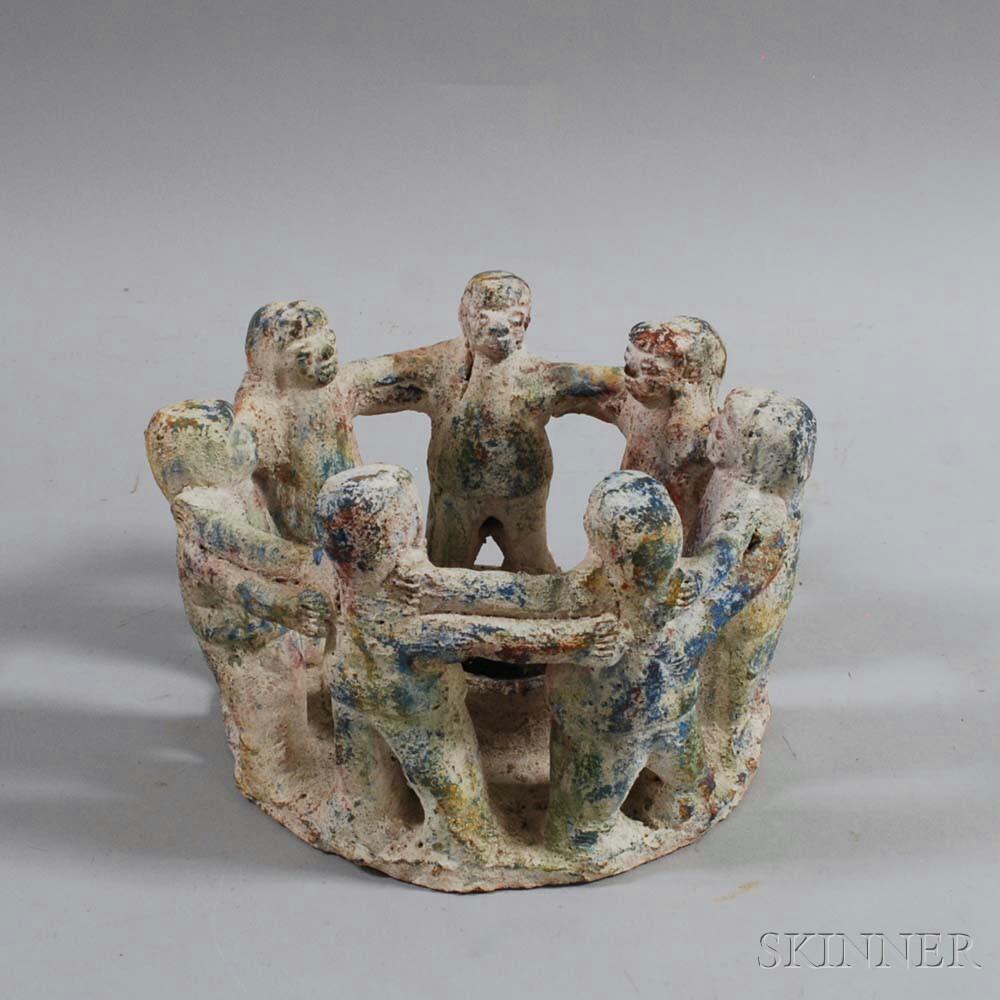 Primitive-style Pottery Oil Lamp