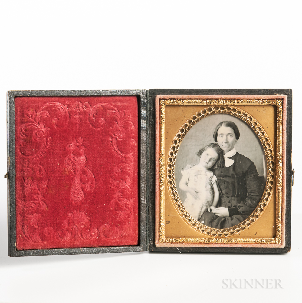 Sixth-plate Daguerreotype of a Seated Mother with a Little Girl