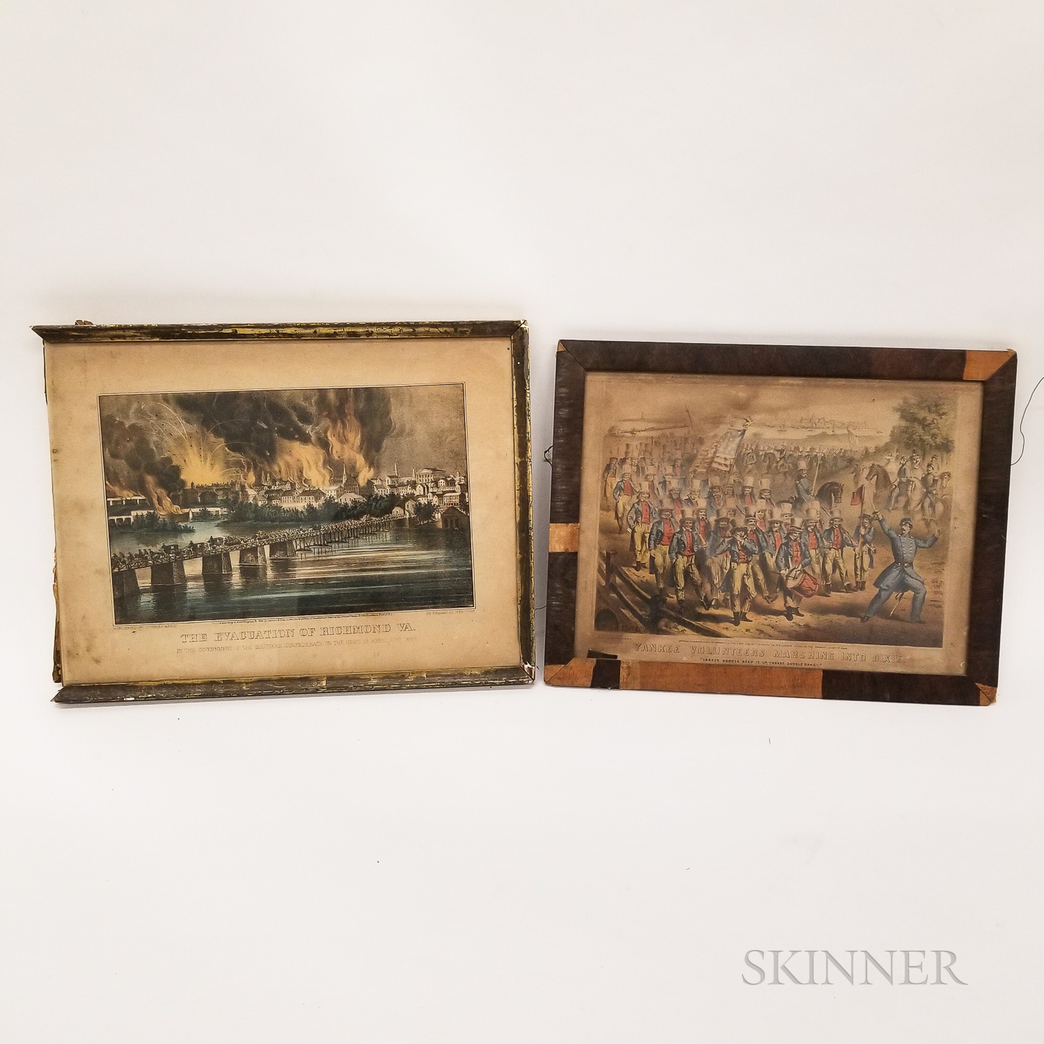 Two Hand-colored Lithographs of Civil War Scenes