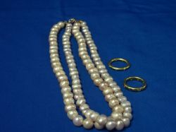 Freshwater Pearl Necklace and Two Bands.