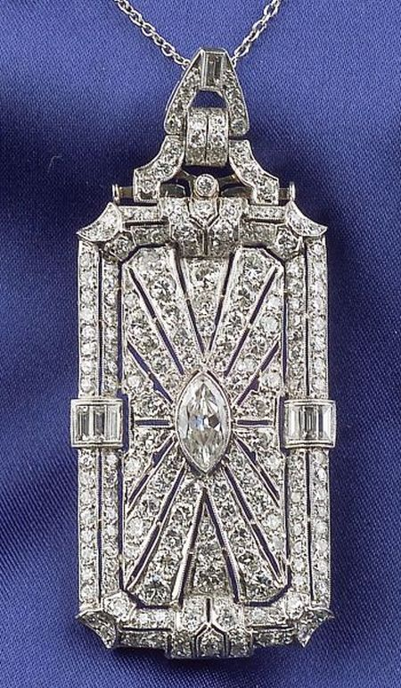 Art Deco Platinum and Diamond Pendant/Brooch