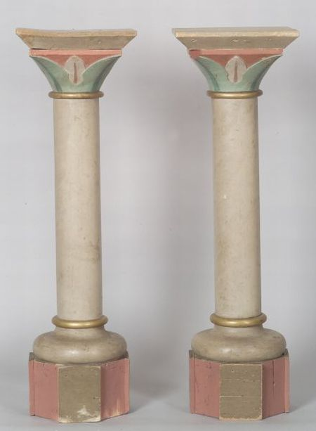 Pair of Polychrome Painted Wooden Pedestals