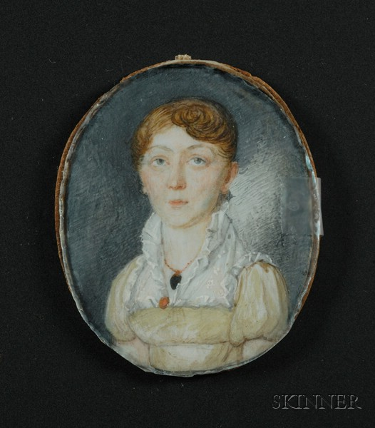 Portrait Miniature of a Woman Wearing a Yellow Dress