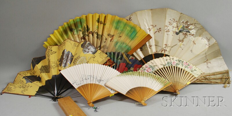 Eight Chinese Scholar's Items and Seven Chinese and Japanese Painted Hand Fans