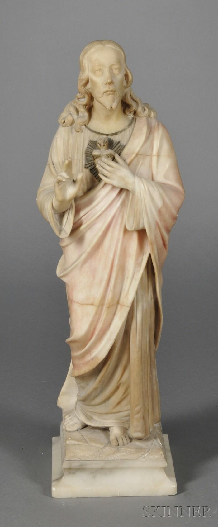 Italian Marble Figure of The Sacred Heart of Jesus