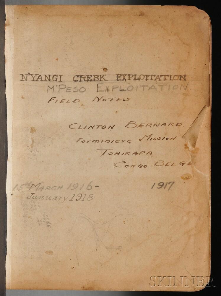 Belgian Congo Mining Note Book, Clinton Percival Bernard (1888-1967) c. 1916-1918