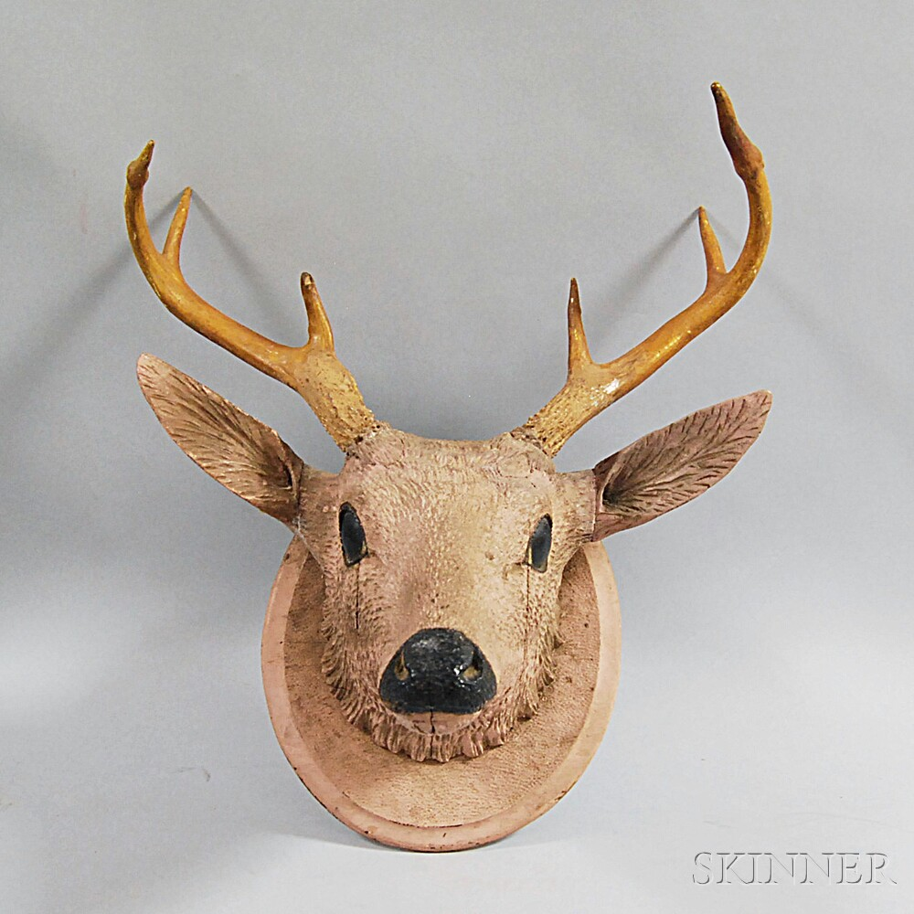 Carved and Painted Folk Art Deer Head