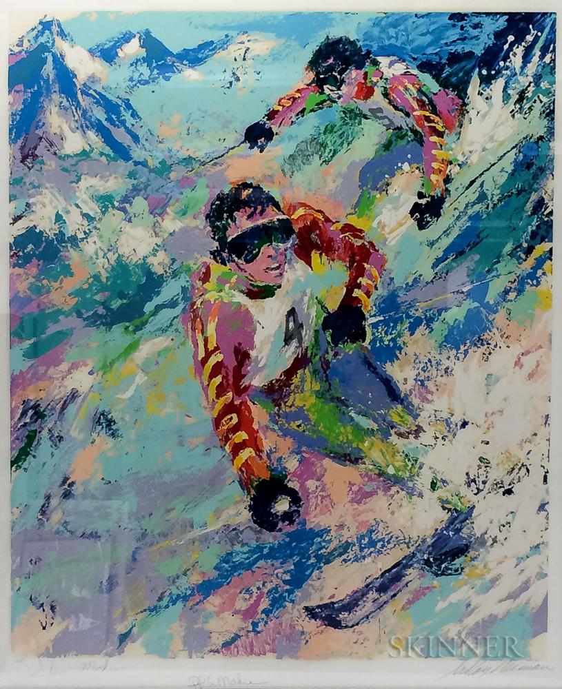 LeRoy Neiman (American, 1921-2012)      Maher Twins Skiing