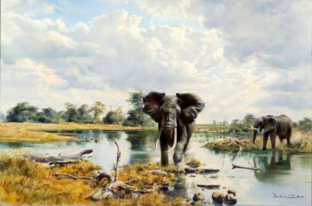 Donald Grant (British, b. 1942)    Elephants
