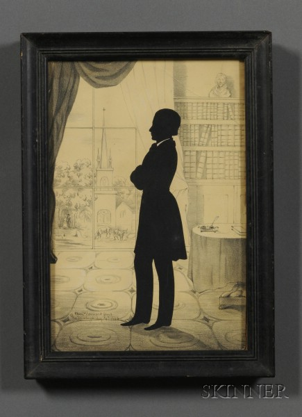 Auguste Edouart (French/American, 1789-1861)      Silhouette Portrait of a Gentleman Standing in a Library.