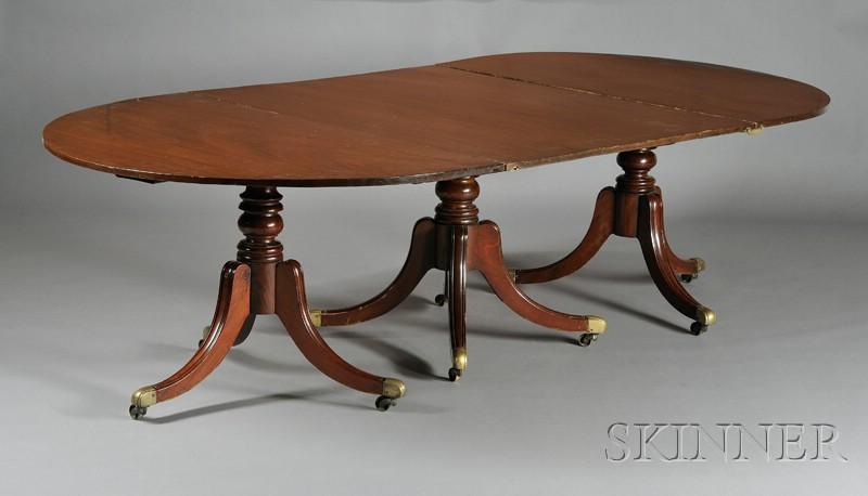 George III Style Mahogany Three-pedestal Dining Table