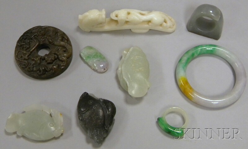 Nine Assorted Chinese Jade Carvings