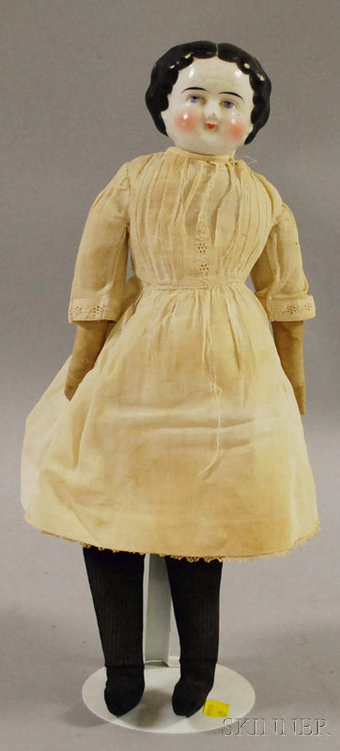 Porcelain Head Doll with Cloth Body