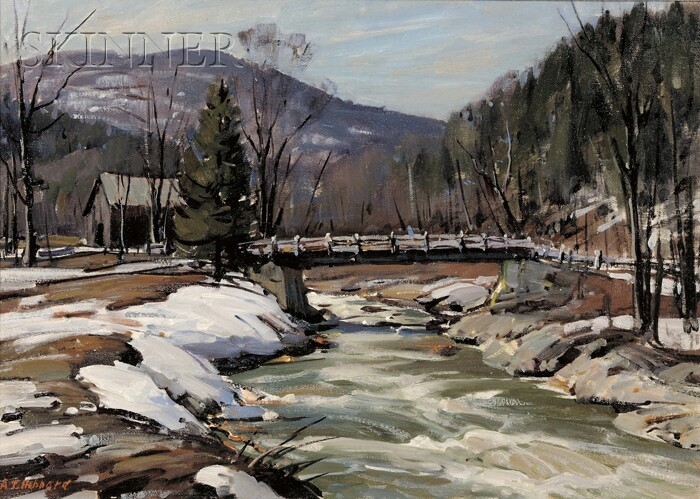 Aldro Thompson Hibbard (American, 1886-1972)      Winter Landscape with River and Bridge