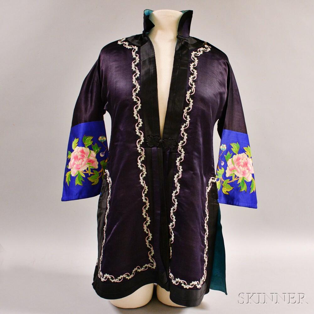 Dark Purple Silk Embroidered Short Jacket