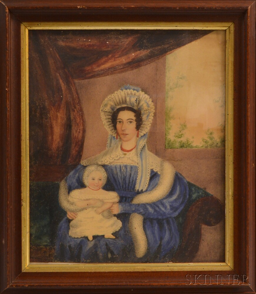 American School, 19th Century       Portrait of a Woman and Child