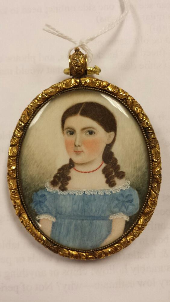 American School, c. 1830-40      Portrait Miniature of a Girl in a Blue Dress