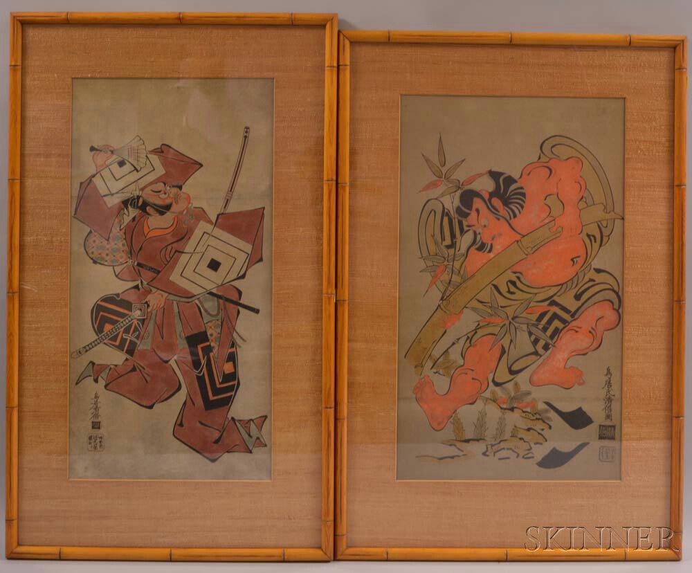 Two Tan-e   Woodblock Prints Depicting Warriors